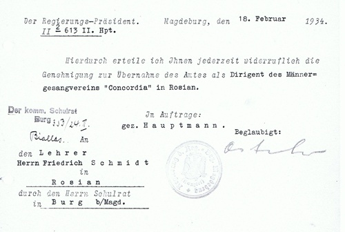 """Genehmigung zur Übernahme des Amtes des Dirigenten des Männergesangsvereins """"Concordia"""" in Rosian"""