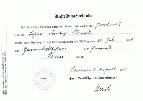 Anstellungsurkunde von Herrn Friedrich Schmidt